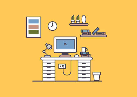 Office workspace or home workspace of creative graphic designer, linear flat vector and illustration. Vector Illustration