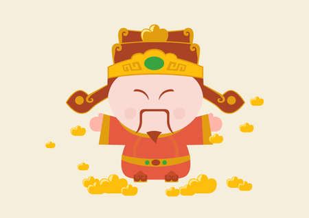 Flat line vector and illustration, Chainese god of wealth or fortune god of Chainese and gold cube for wealth on light yellow background. Illustration