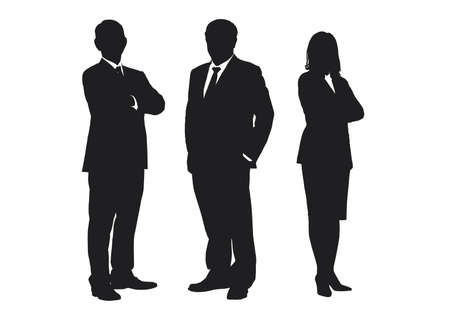 Business people group silhouettes pose on white background, flat line vector and illustration.