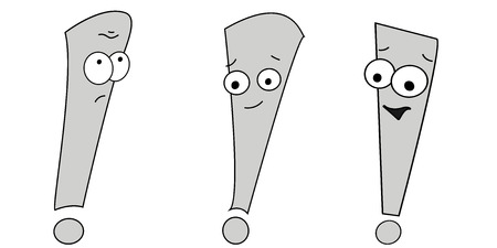 Vector illustration of an exclamation mark. Emotion sadness, joy. Emoji character with different expressions.