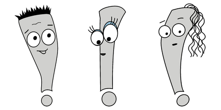 Vector illustration of an exclamation mark. Emoji character with different expressions.