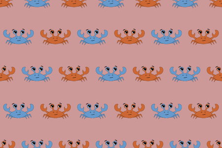 Vector seamless crab pattern illustration. Design for kids t-shirt