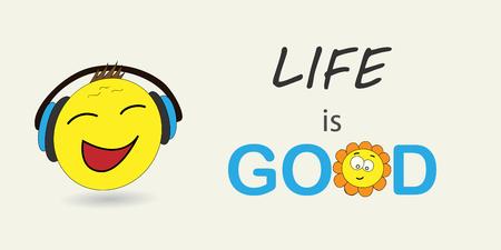 Life is good. Vector illustration emoji. Banner vector with emoji. Surprised emotion, huh emotion. Cartoon print. Illustration