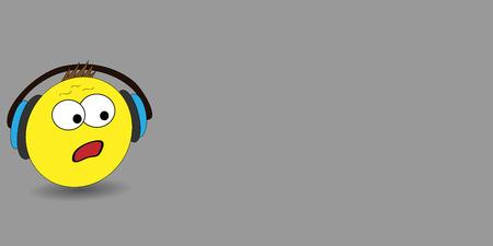Vector illustration emoji. Banner vector with emoji. Surprised emotion, huh emotion. Cartoon print. Illustration