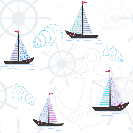 Vector seamless pattern with ships, anchors and seashells. Sea pattern. Design of a substrate on the theme of rest.