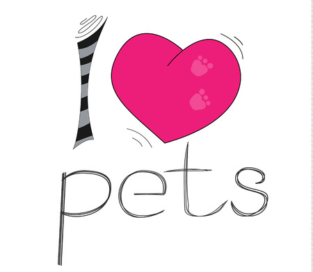 I like pets. I love pets. Children's T-shirt design. The template for the cover fabric, books. Design of cards. Illustration