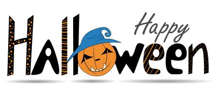 Happy Halloween. Lettering, calligraphy. Vector congratulatory poster. T-shirt design, T-shirt print. Иллюстрация