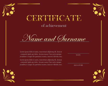 Creative certificate, diploma. Frame for diploma, certificate. Certificate template with elegant border frame, Diploma design for graduation or completion. Vecteurs