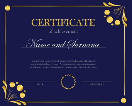 Certificat créatif, diplôme. Cadre pour diplôme, certificat. Modèle de certificat avec cadre élégant, conception de diplôme pour l'obtention du diplôme ou l'achèvement.
