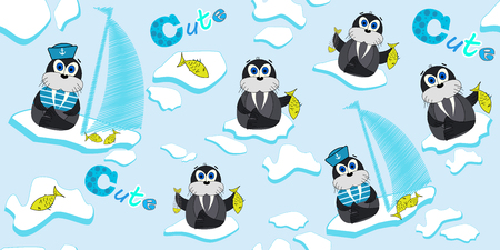 Vector pattern with walrus that float on an ice floe and fish. Illustration of a cartoon ship-ice. Prints for children's clothing and textiles. Illusztráció