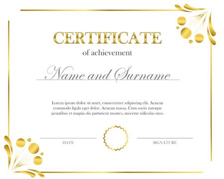 Certificat créatif, diplôme. Cadre pour diplôme, certificat. Modèle de certificat avec cadre élégant, conception de diplôme pour l'obtention du diplôme ou l'achèvement. Vecteurs