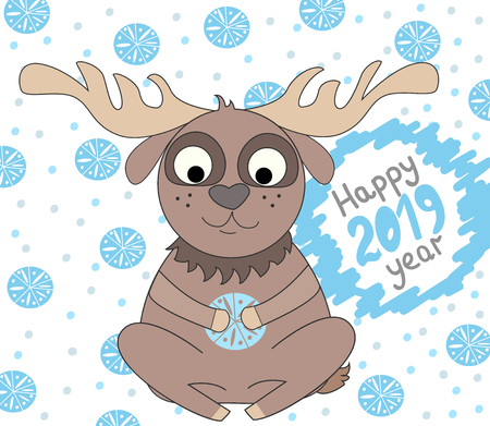 Vector illustration of cartoon deer. New year illustration with deer 2019. New year greeting card design. The template for the cover fabric, books.