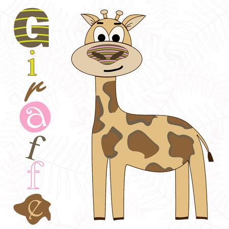 Vector illustration of a giraffe on a white background. T-shirt graphics for kids. Cartoon print. Foto de archivo - 128868275