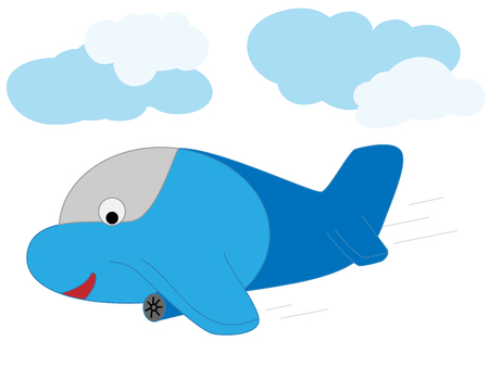 Vector illustration of a cartoon plane. Prints for textiles. Illustration of air transport.