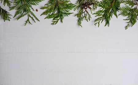 Christmas composition with live branches of a coniferous tree. The form for the text of the New Year banner on a white wooden background. Collage with branches of natural needles. New Years composition Stock Photo
