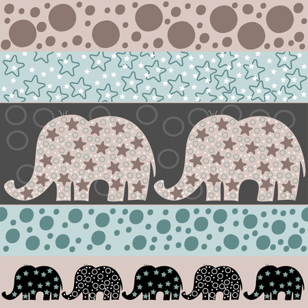 Vector seamless pattern with cartoon elephants. Vector illustration with cartoon elephants. Print for wallpaper and textiles. The template for the cover fabric, books. Illustration