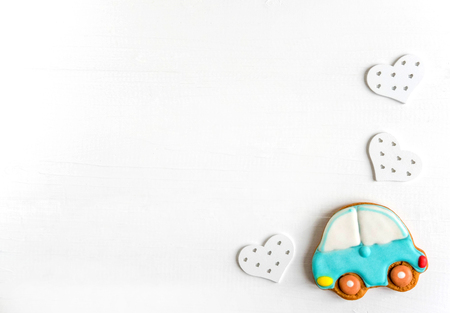 Background for a banner with car. Children banner. Frame for greeting card newborn boy. Blank for design childish banner