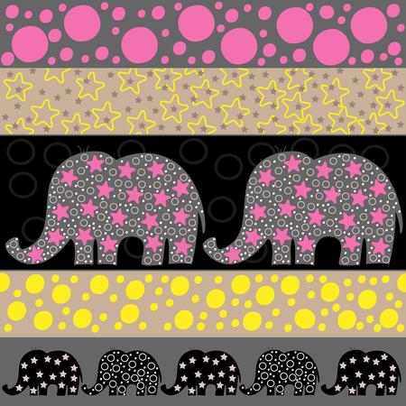 Vector seamless pattern with cartoon elephants. Vector illustration with cartoon elephants.