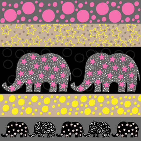 Vector seamless pattern with cartoon elephants. Vector illustration with cartoon elephants. Stock Vector - 126933960