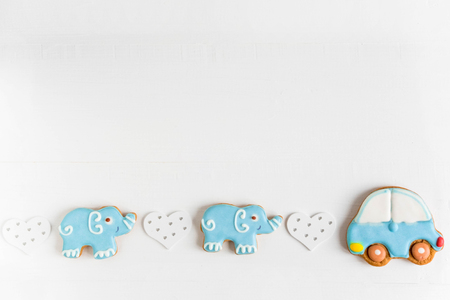 Background for a banner with elephants and car. Children banner. Frame for greeting card newborn boy. Imagens