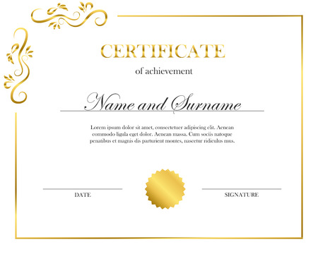 Creative certificate, diploma. Frame for diploma, certificate. Diploma design for graduation or completion.