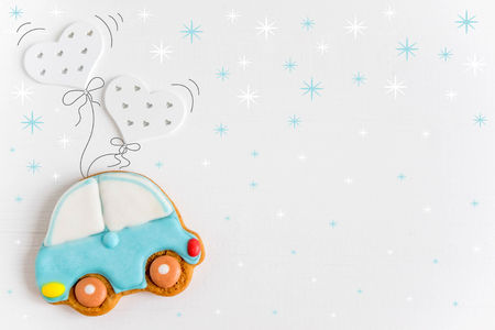Photo of the car flying balloons. Greeting card for children, newborns. Form for text.