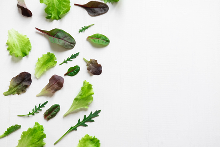 Green salad leaves on a white background. Pattern with lettuce leaves.