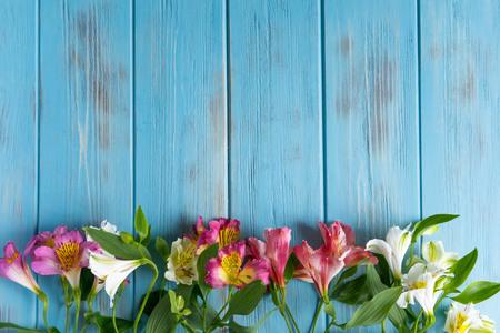 Urodziny szablon karty z pozdrowieniami. Niebieskie drewniane tło z różowymi kwiatami alstremerii. Podstawa banera gratulacyjnego.