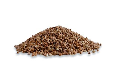 Isolated on white background photo buckwheat. Buckwheat is not boiled poured slides. Stock Photo