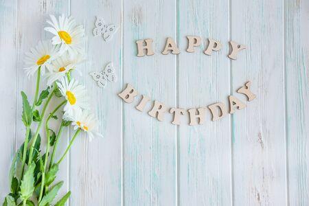 Happy Birthday to You. Birthday card design with flowers for birthday. Birthday card for mother, girl.