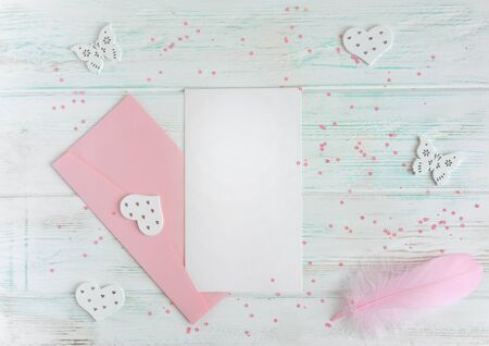 Template for lettering, letter with envelope and pen of pink color Banco de Imagens
