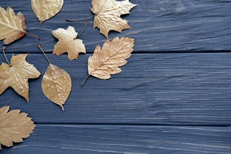 Leaves of trees of gold color on a gray wooden background. Golden autumn.