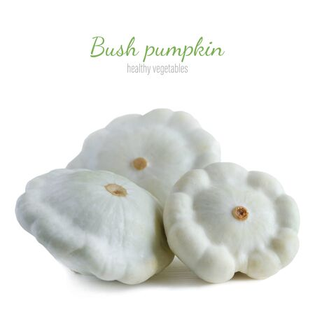 Three bush pumpkin isolated on a white background. Healthy vegetables