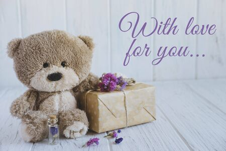 With love for you. Greeting card for a loved one, mom, dad, son and daughter. Vintage valentine card design with teddy bear