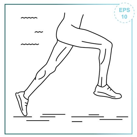 Vector illustration in the lines of a man who is running. Icon on a sports theme Иллюстрация