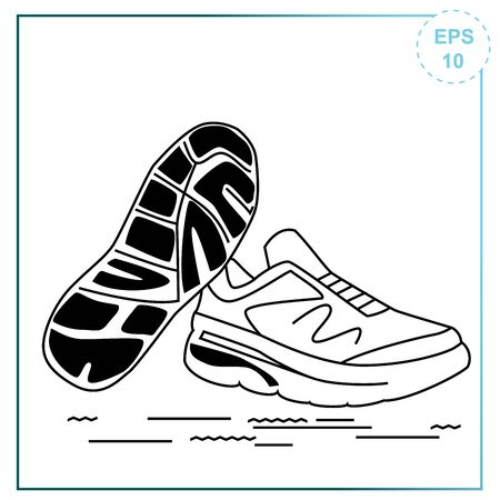 Vector illustration of training sneakers. Sports shoes drawn in vector