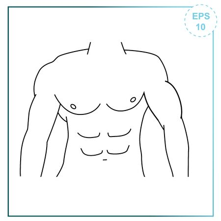 Vector illustration in simple lines of a sports body of a pumped up man. Press men icon.
