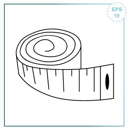 Vector measurement tape icon for measuring body volume.
