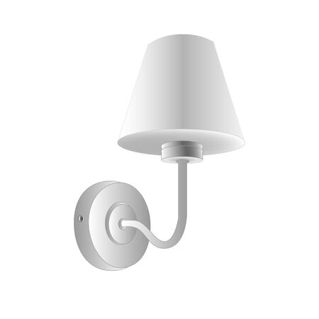 Vector illustration of a lamp with a shade for the wall on a white background. Monochrome illustration
