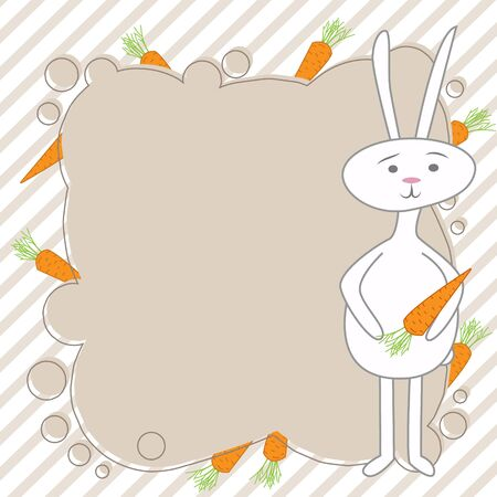 Design photo frames on nice background. Decorative template for baby, family or memories. Vector frame for text with a rabbit character.