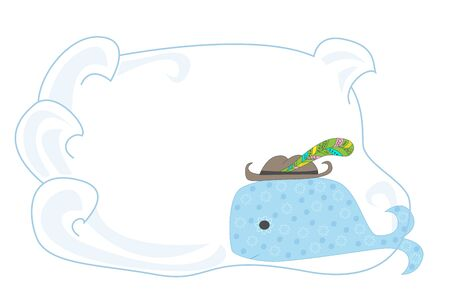 Baby vector frame with cartoon whale character. Hand drawn whale with a place for an inscription, congratulations.