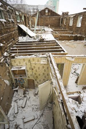demolished house: House demolished walls and floors.