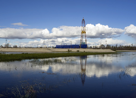 Oil production in the summer in Western Siberia Stock fotó