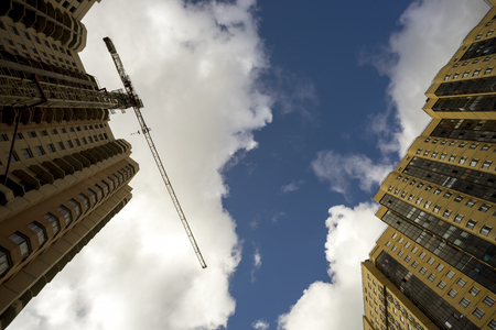 multifamily: Construction of multi-storey buildings , the view from the bottom to the top.