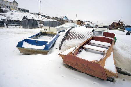 taz: Winter landscape on the river Taz in the Yamal Peninsula.