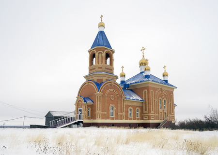taz: Orthodox Church in the village of Taz in the Yamal Peninsula. Stock Photo