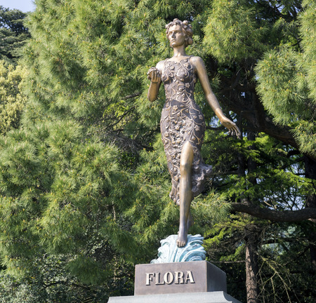 flora: A sculpture of flora in the Botanical garden .Crimea.