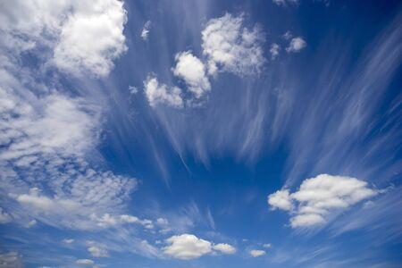 Heavenly landscape .Beautiful blue sky with clouds.
