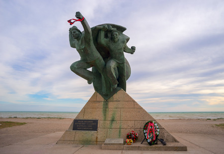 heroism: The Evpatoria monument to the sailors paratroopers. Stock Photo