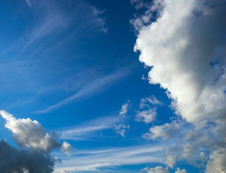 atmospheric phenomena: Blue sky with white clouds Cirrus and Cumulus .